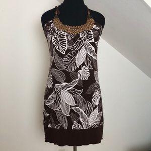BCX Halter Dress with Wooden Detail